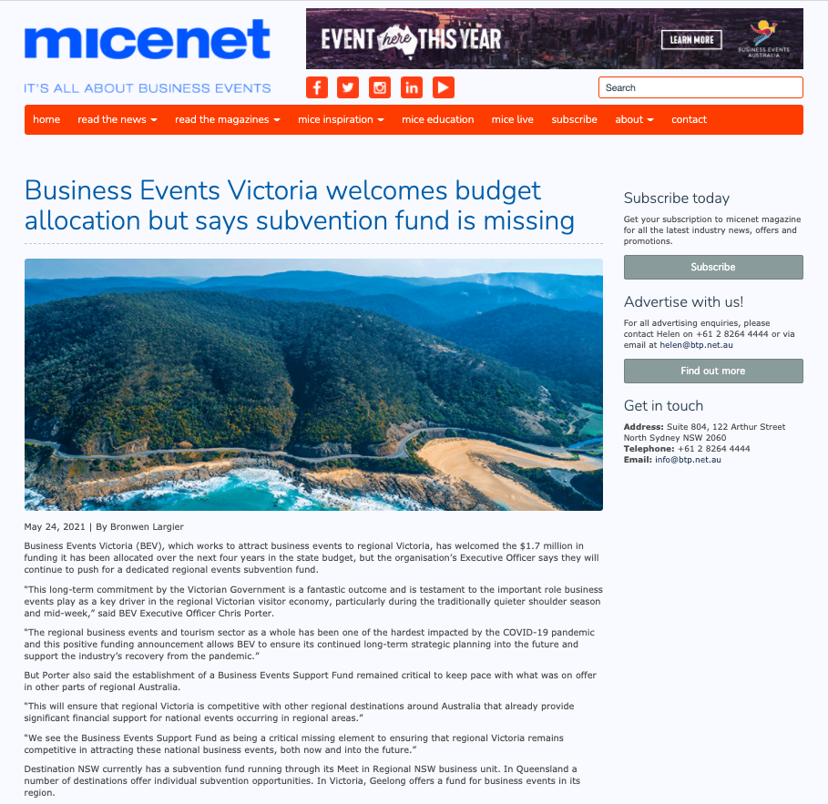 Micenet news article from 24 May 2021